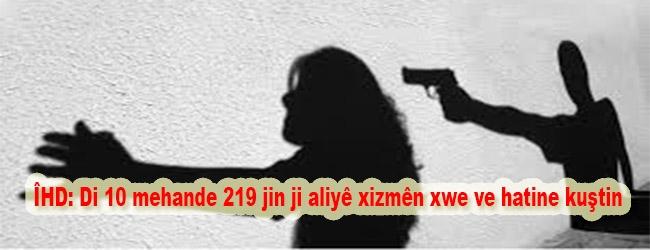 ÎHD: Di 10 mehande 219 jin ji aliyê xizmên xwe ve hatine kuştin